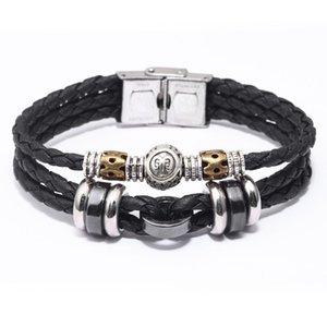 New 12 constelação de Chino pulseira feita de aço inoxidável dobraram Couro Corda E pulseira trançada