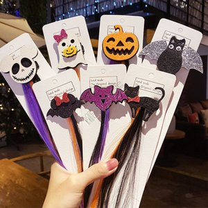 Meninas crianças peruca colorida grampos de cabelo hairpin Halloween barrette cocar Santo Cat Bat Cabelo abóbora pins Partido Hallowmas acessório NOVO D82706