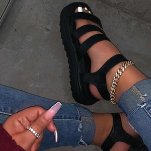 Sandales d'été des femmes Ladies Open Toe cheville Bracelet épais Chaussures de fond plat Femme confortable Sandales Mode Femme 2020 Casual