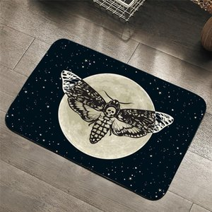 BeddingOutlet Death Moth Entrance Doormat Gothic Skull Area Rug Butterfly Moon Star Bedroom Carpet Polyester Rug Mat 40x60