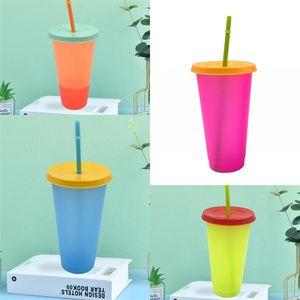 Temperatura Colour Sensing Modifica Tazze riutilizzabile con coperchio della tazza di caffè di plastica trasparente Bicchiere di aspirazione tubolare domestica rotonda 5HB B2