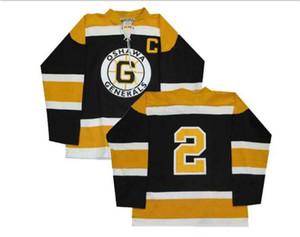 Uomini Personalizza CHL Oshawa Generals 2 OHL Bobby Orr hokey Jersey nera ricamo hokey Jersey o custom qualsiasi nome o il numero retrò Jersey