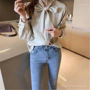 Конструктор Сыпучие Одежда с Bow Женская мода Pure Color T Shirt Весна Осень с длинным рукавом Топы Дамы