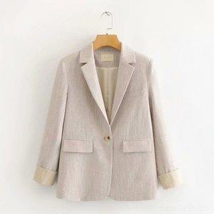qkRtx 65MR-200308 coreana cor da mola terno novo 65mr-200308 coreana 2020 roupas de estilo britânico terno pequena fina feminina suitcontrast das mulheres
