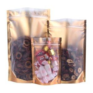100pcs lot Inside Gold Outside Silver Kitchen Storage Bag Stand Up Sealing Aluminum Foil Transparent Bulk Food Bag Packaging Bag for Goods