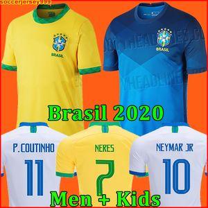 Brazil Maglia da calcio Brasile BRASIL NERES camiseta de futebol 2020 2021 G.JESUS COUTINHO 20 21 maglia da calcio da uomo + kit per bambini set uniformi