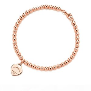100% 925 sterling silver tag love original classic heart-shaped rosegold bead bracelet women jewelry gifts personality