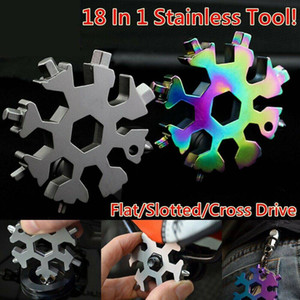 Stainless Tool Snowflake Shape Key Chain Screwdriver-18 In 1 Multi Tool Portable Outdoor Travel Camping Tool
