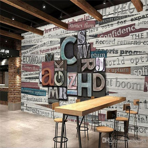 Novelty Vintage Capatial English Letter Photo Wall Mural Wallpaper for Restaurant Coffee Shop Fabric Poster Wall Papers Modern