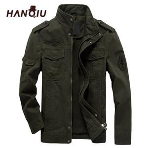HANQIU Марка M-6XL Bomber Jacket Men Военная одежда 2020 весна осень Мужской Coat Solid Сыпучие Army Military Jacket