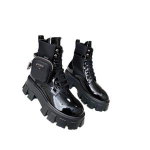 Las mujeres Mate Prada cuero auténtico tanque de la plataforma de moldeo últimos zapatos casuales Bolsa Botas Top pulso triple Martin botas Tamaño 35-41Heel Altura 6 cm
