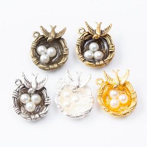 10pcs 24 * 20MM tibetischen Silber Farbe pearl Vogelnest Reize antike Bronze Stern Anhänger für Armband DIY Schmuckherstellung Ohrring