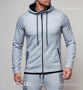 Male Fitness Slim Casual Clothing Spring Autumn Hoodies For Mens Sports Cardigan Fold Sweatshirts