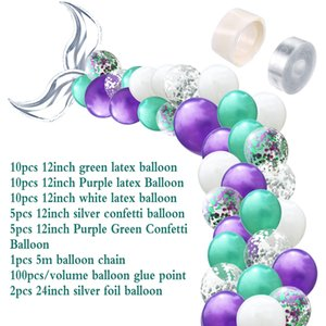 42-piece set mermaid tail balloon arch set little mermaid wedding party decoration supplies girl birthday party decoration dhl
