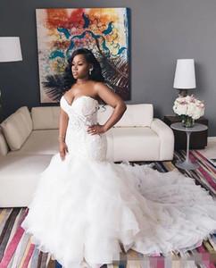 Vintage Ivoire 2021 trompette sirène robes de mariée en cascade volants chérie corsage en dentelle décolleté en cœur lacent Plus Size robe de mariée
