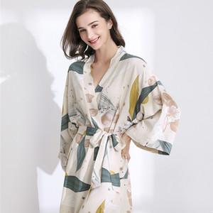 Song julho New Pijamas Robe Primavera Fino Cotton-silk Mulheres Camisola Flor Impresso Longo-luva Pijamas Banho Femininas CX200818