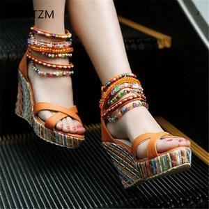 Yüksek Ökçe ile AGUTZM Kadın Kama Bohem Stili El yapımı Boncuklu Sandalet moda kadınlar ayakkabı Büyük boy bayanlar sandalet 266 pompalar