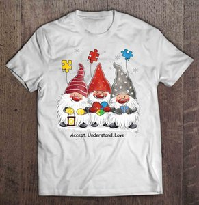 Erkekler Komik Tişörtlü Moda Tişört Aşk Otizm Gnome Noel Triko Kadın T-Shirt anlama Kabul