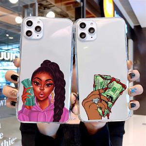 MARCA caso de telefone dinheiro não Amigos Kash Afro Preto menina Fundas Para iPhone12Pro MAX 11 12 5S 6s 7 8 Plus X XS MAX XR 11Pro