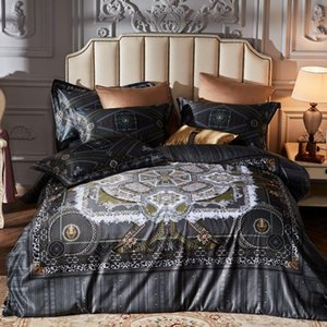 Luxury 100S Satin Cotton Art Bedding Set Silky Smooth Duvet cover Bed Sheet Pillowcases Queen King size 4pce bed linen