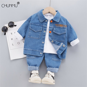 Autumn Kid Boy Girl Clothing New Fashion Denim Tracksuit Letter Button Coat Tops Jeans Sets Long Sleeve Infant Clothes Baby Set 0926