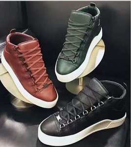 Casual Shoes New Designer Classic Men Women Genuine Leather Arena Shoes Flat Fashion High Top Lace Up Shoes Outdoors Sneakers
