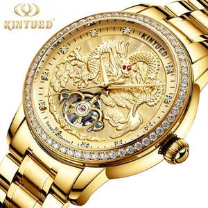Наручные часы Kinyed Роскошные Золотые Драконы Механические Часы Мужчины Из Нержавеющей Стали Алмазная Рельефная Дизайн Дизайн Турбийон Светящийся Водонепроницаемый