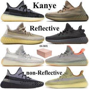 Nueva Kanye Desert Sage reflectante Luz trasera diseñador de los zapatos corrientes Asriel zyon tierra oreo yecheil hombre estáticas para mujer negro de las zapatillas de deporte con la caja