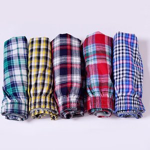 Men's Cotton Arrow Boxers Casual Plaid Print Elastic Waist Underwear Summer Loose Breathable Beach Pants Boxers Shorts
