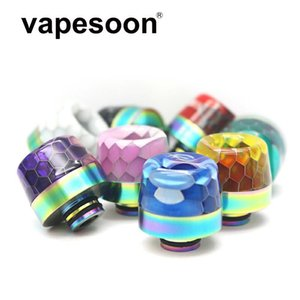 Original Vapesoon 510 Drip Tips Honeycomb Snake Skin Rainbow Stainless Tip Resin Epoxy Mouthpiece Wire Bore Suck for TFV12 Prince TFV8 Baby