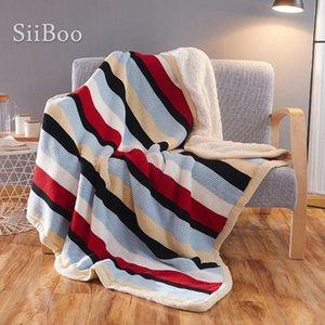 Europa Rechteck Stil Winter dickes Lammfell Baumwolle gestreifte Decke für Bettsofa Stuhl Decken-para cama battaniye SP5803