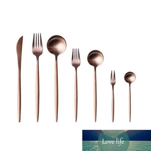 Rose Gold Dinnerware Set Tableware Fork Knife Spoon Matte Rose Gold Western Metal Stainless Steel Dinner Knife Fork Flatware sets