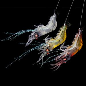 90mm 7g Soft Simulation Prawn Shrimp Fishing Floating Shaped Lure Hook Bait Bionic Artificial Shrimp Lures with Hook 10pcs New