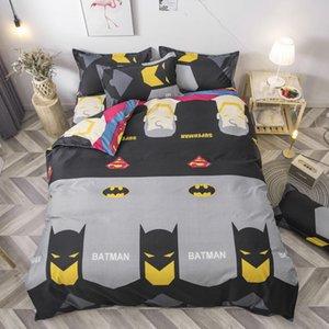 배트맨 인쇄 된 침구는 어린이 이불 커버 플랫 시트 베개 싱글 이불 커버 침구 회색 만화 스타일의 침대 리넨 LJ200818을 설정합니다