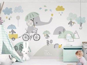 papel de la pared de fondo elefante hámster nube niños linda bicicleta aduana del Papel de parede Papel Pintado