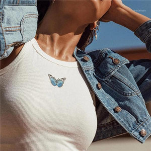 Crops Butterfly Print Tank Tops Women Sexy Halter Vest Clothing Party Club Bustier Summer Spring White Bottoming Cropped Sports