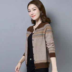 Short Women Fall Knitted Cardigan O Neck Ladies Long Sleeved Sweater Fashion Knit Warm Striped Cardigans Female Knitwear