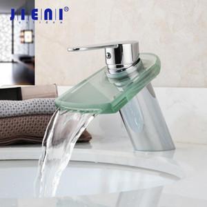 JIENI Polish Glass Waterfall Faucet Wash Basin 1 Handle Chrome Bathroom Basin Sink Faucet Deck Mounted Vessel Tap Mixer