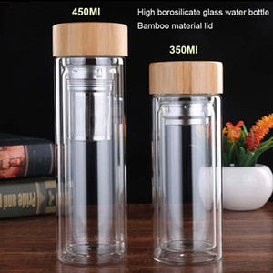 350ml 450Ml Glass Water Bottle Anti-scald Double Wall Tea Bottle With Infuser Filter Strainer Office Clear Drinking Bottle