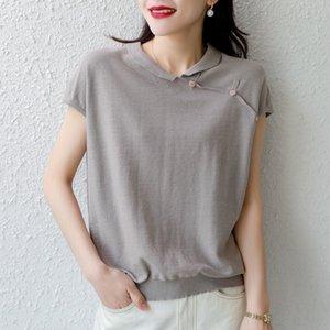 OpCrA Summer y corto de la manga de la solapa 20 del nuevo algodón de lino superior y algodón de lino de linenwomen colorknitted manguito superior sólido medio suelta
