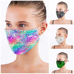 DHL Fast Ship Fashion Bling Bling Sequin Protective Mask Dustproof Washable Windproof Reuse Face Mask Elastic Earloop Mouth Mask