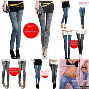 rVKn2 Sıcak pantolon dar pantolon Satış yeni dikişsiz termal transfer sıkı dokuz maddelik imitasyon kot tozluk örme Denim