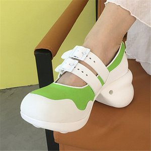Green White Women Sneakers Mary Janes High Heel Shoes Woman Tenis Feminino Espadrilles Thick Sole Creepers Platform Women Pumps