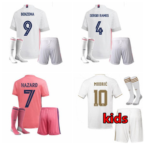 2019 2020 2021 Real Madrid Enfants Football Maillots Survêtements ensembles kroos SERGIO RAMOS MODRIC RISQUE 20 21 garçons de football chemise avec un short
