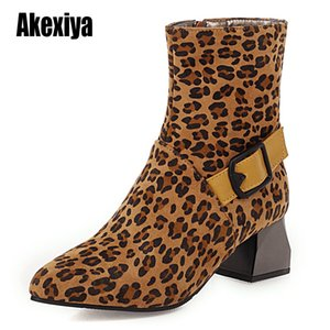 2020 Autumn winter Women Boots Ladies Buckle Pointed Toe Square Heel Bota Feminina fashion Shoes Botines Mujer w085