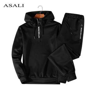 ASALI Hoodies Set Men Herbst beiläufige Mens Anzug mit Kapuze Hoody + Pants 2 Stück Herren Sportwear-Pullover Sets Männlich Outwear 5XL
