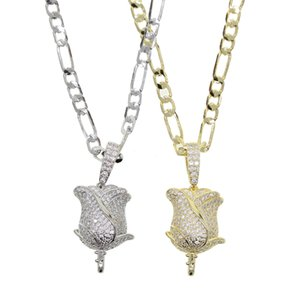 2020 summer Iced out bling cz Rose Flower Pendant Necklace women lover Valentine's Day Gift with Figaro chain fashion jewelry