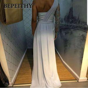 BEPEITHY одно плечо свадебное платье с длинным рукавом Платье De Festa Платье длинное вечернее выпускное 201119