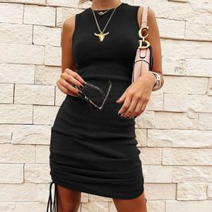 Toptan Kadınlar Katı Ç Boyun Kolsuz Skinny Mini Elbise Yaz Moda Yan İpli Dantelli Elbise Kadın Partisi Kulübü Kıyafet