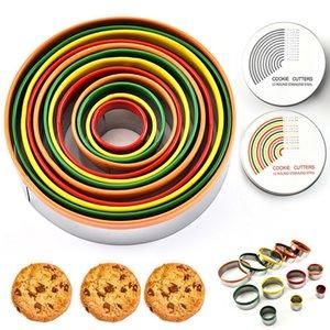 Aço inoxidável Biscuit Cutting Set forma redonda corte Moldes Mousse Bolo Biscuit Donuts cortador OWC982
